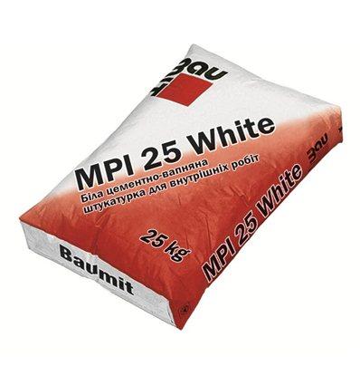 Штукатурка цементно-известковая Baumit MPI 25 White, 25кг