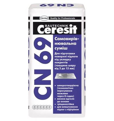 Ceresit CN-69 самовыравнивающаяся смесь для теплых полов (3-15 мм), 25 кг