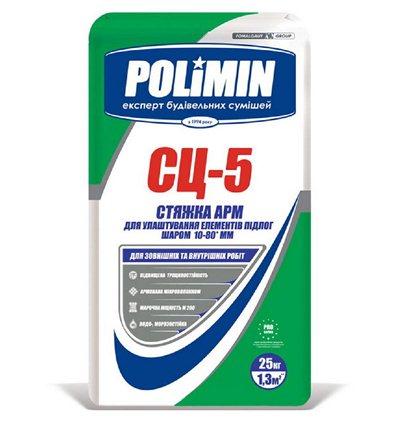 ПОЛИМИН СЦ-5 стяжка цементная М200 Polimin СЦ-5 для теплых полов (10-40 мм), 25 кг