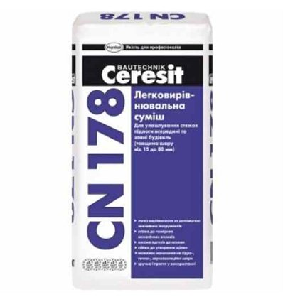 Стяжка Ceresit CN-178 легковыравнивающая стяжка (15-80 мм), 25кг